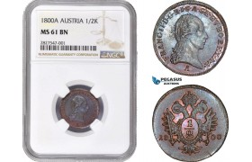 AC658, Austria, Franz II, 1/2 Kreuzer 1800-A, Vienna, NGC MS61BN
