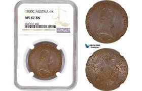 AC659, Austria, Franz II, 6 Kreuzer 1800-C, Prague, NGC MS62BN