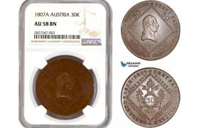 AC660, Austria, Franz II, 30 Kreuzer 1807-A, Vienna, NGC AU58BN