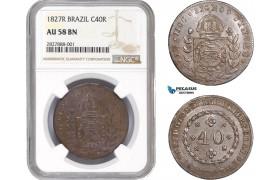 AC662, Brazil, Pedro I, 40 Reis 1827-R, Rio de Janeiro, NGC AU58BN