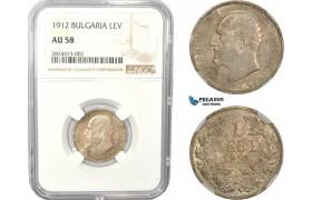 AC665, Bulgaria, Ferdinand, 1 Lev 1912, Vienna, Silver, NGC AU58