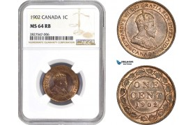 AC666, Canada, Edward VII, 1 Cent 1902, NGC MS64RB
