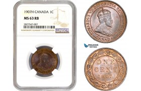 AC667, Canada, Edward VII, 1 Cent 1907-H, Heaton, NGC MS63RB