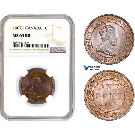 AC667, Canada, Edward VII, 1 Cent 1907-H, Heaton, NGC MS63RB