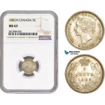 AC669, Canada, Victoria, 5 Cents 1882-H, Heaton, Silver, NGC MS63