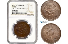 AC670, China, Hupoo, 20 Cash ND (1903-17) NGC AU55BN