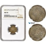 AC674, Ottoman Empire, Egypt, Abdulaziz, 1 Qirsh AH1277/3, Misr, Silver, NGC AU55