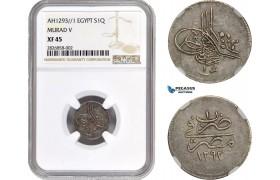 AC675, Ottoman Empire, Egypt, Murad V, 1 Qirsh AH1293/1, Misr, Silver, NGC XF45, Rare!