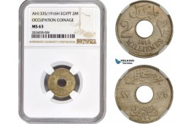 AC678, Egypt (Occupation Coinage) 2 Milliemes AH1335 (1916) NGC MS63