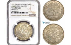 AC679, Egypt (Occupation Coinage) 10 Piastres AH1335 (1917) Silver, NGC UNC Details