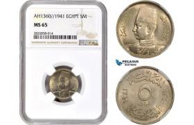 AC681, Egypt, Fuad, 5 Milliemes AH1360 / 1941, NGC MS65