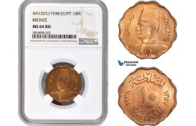 AC683, Egypt, Farouk, 10 Milliemes AH1357 / 1938, Bronze, NGC MS64RD, Top Pop