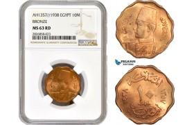 AC684, Egypt, Farouk, 10 Milliemes AH1357 / 1938, Bronze, NGC MS63RD