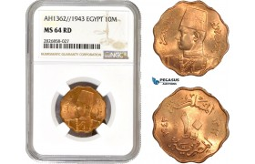 AC685, Egypt, Farouk, 10 Milliemes AH1362 / 1943, NGC MS64RD