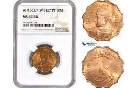 AC686, Egypt, Farouk, 10 Milliemes AH1362 / 1943, NGC MS64RD