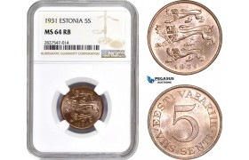 AC688, Estonia, 5 Senti 1934, NGC MS64RB