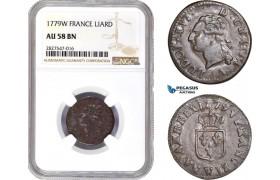 AC690, France, Louis XVI, Liard 1779-W, Lille, NGC AU58BN, Pop 1/0, Rare!