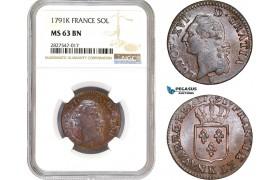 AC691, France, Louis XVI, 1 Sol 1791-K, Bordeaux, NGC MS63BN, Pop 1/0, Rare!