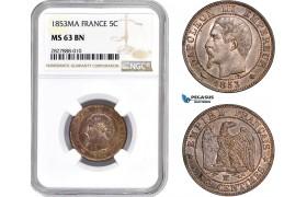 AC694, France, Napoleon III, 5 Centimes 1853-MA, Marseilles, NGC MS63BN, Pop 1/0, Rare!