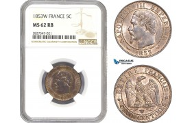 AC695, France, Napoleon III, 5 Centimes 1853-W, Lille, NGC MS62RB