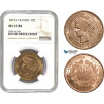 AC700, France, Third Republic, 10 Centimes 1873-A, Paris, NGC MS65RB, Pop 2/0