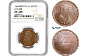 AC702, France & Germany, Essai 2 Francs Module 1806, Bronze, Maz-631, NGC MS64BN