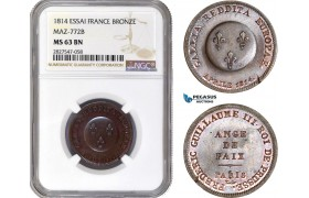 AC703, France & Germany, Essai 2 Francs Module 1814, Bronze, Maz-772B, NGC MS63BN (Prooflike)