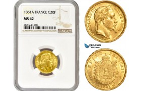 AC705, France, Napoleon III, 20 Francs 1861-A, Paris, Gold, NGC MS62