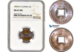 AC706, French Indo-China, 2 Sapeque 1894-A, Paris, NGC MS65BN