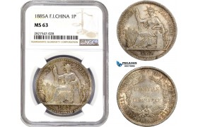 AC709, French Indo-China, 1 Piastre 1885-A, Paris, Silver, NGC MS63, Rare!