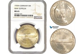 "AC711, Germany, Weimar, ""Graf Zeppelin"" 5 Mark 1930-A, Berlin, Silver, NGC MS65"