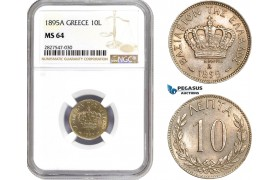AC713, Greece, George I, 10 Lepta 1895-A, Paris, NGC MS64