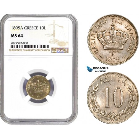 AC713, Greece, George I, 10 Lepta 1895-A, Paris, NGC MS64