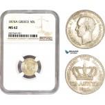 AC714, Greece, George I, 50 Lepta 1874-A, Paris, Silver, NGC MS62