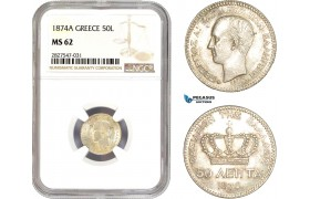 AC714, Greece, George I, 50 Lepta 1874-A, Paris, Silver, NGC MS62