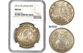 AC715, Japan, Taisho, Yen Yr. 3 (1914) Silver, NGC MS64