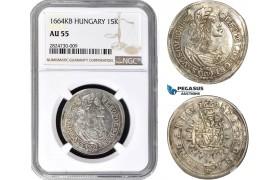 AC717, Hungary, Leopold, 15 Krajczar 1664-KB, Kremnitz, Silver, NGC AU55