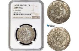 AC718, Hungary, Leopold, 15 Krajczar 1665-KB, Kremnitz, Silver, NGC AU Details