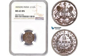 AC720, India (EIC) 1/12 Anna 1835 (M) Madras, NGC MS63BN