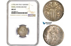 AC721, Italy, Papal, Benedict XIV, Grosso XIV (1753) Silver, KM-969, NGC MS63