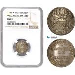 AC722, Italy, Papal, Pius VI, Grosso X (1784) Silver, KM-1047, NGC MS63