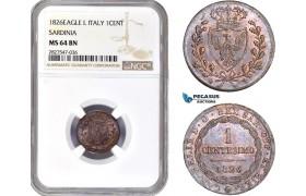 AC723, Italy, Sardinia, Carlo Felice, 1 Centesimo 1826 Eagle L, Turin, NGC MS64BN, Pop 1/0