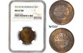 AC727, Morocco, Abd al-Aziz, 5 Mazunas AH1321, Birgmigham, NGC MS62RB, Pop 1/1