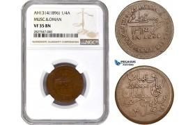 AC728, Muscat & Oman, Feissul bin Turkee, 1/4 Anna AH1314, NGC VF35BN, Mule?