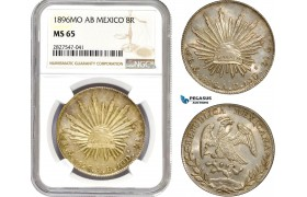 AC729, Mexico, 8 Reales 1896 Mo AB, Mexico City, Silver, NGC MS65