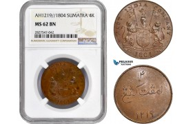 AC730, Netherlands East Indies, Sumatra, 4 Kepings AH1219 / 1804, Soho, NGC MS62