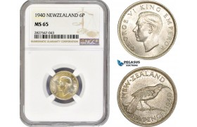 AC731, New Zealand, George VI, Sixpence 1940, Silver, NGC MS65, Pop 3/1