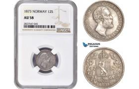 AC733, Norway, Oscar II, 12 Skilling 1873, Kongsberg, Silver, NGC AU58