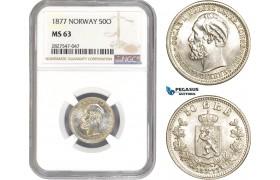 AC735, Norway, Oscar II, 50 Øre 1877, Kongsberg, Silver, NGC MS63, Pop 1/1
