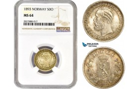AC736, Norway, Oscar II, 50 Øre 1893, Kongsberg, Silver, NGC MS64